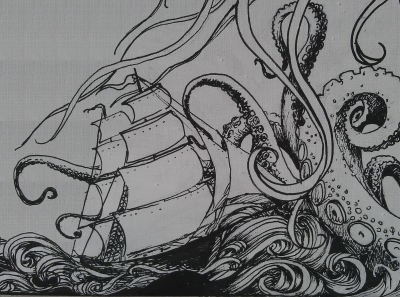 Ship and Kraken (detail)
